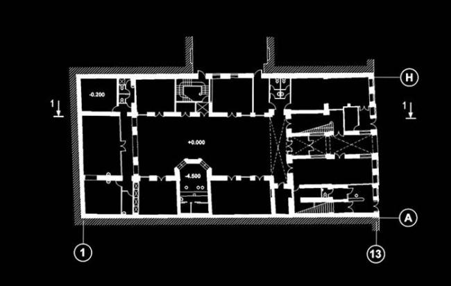 Реконструкция здания под офисно-бытовой центр. План © Евгений Герасимов и партнеры