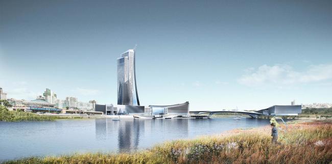 Проект конгресс-центра в Челябинске для конкурса Archchel 2020. Вид с Юго-Запада © Akhmadullin_Architects