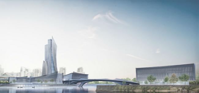 Проект конгресс-центра в Челябинске для конкурса Archchel 2020. Южный вид © Akhmadullin_Architects