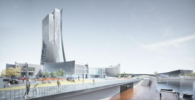 Проект конгресс-центра в Челябинске для конкурса Archchel 2020. Вид со стороны набережной © Akhmadullin_Architects