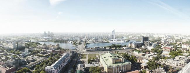 Проект конгресс-центра в Челябинске для конкурса Archchel 2020. Панорама г. Челябинска © Akhmadullin_Architects