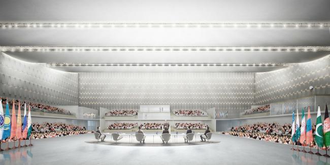 Проект конгресс-центра в Челябинске для конкурса Archchel 2020. Интерьер концертного зала © Akhmadullin_Architects