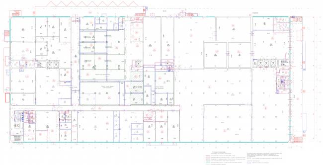 Реконструкция кондитерско-булочного комбината «Простор». План переустройства помещений 1 этажа производственного цеха. Проект, 2015 © Архстройдизайн