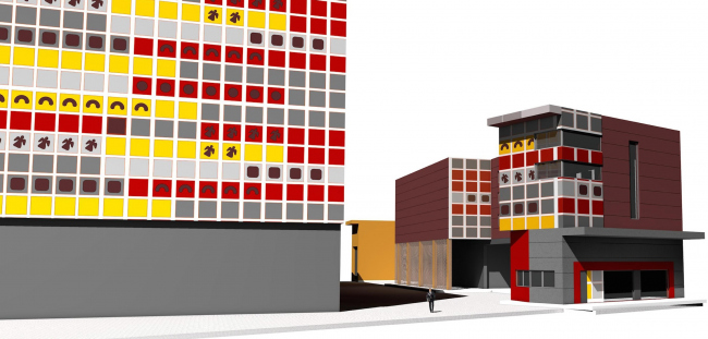 """Reconstruction of the bakery and confectionery complex """"Prostor"""". Entrance group. Project, 2015 © Arkhstroydesign"""