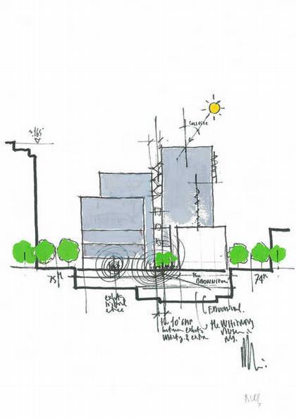 Ренцо Пьяно. Новое крыло Музея американского искусства Уитни. Эскиз