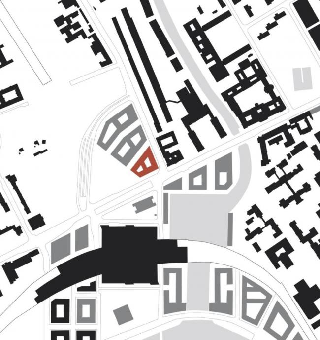 Отели Amano и Ibis у Главного вокзала в Берлине. Ситуационный план © nps tchoban voss