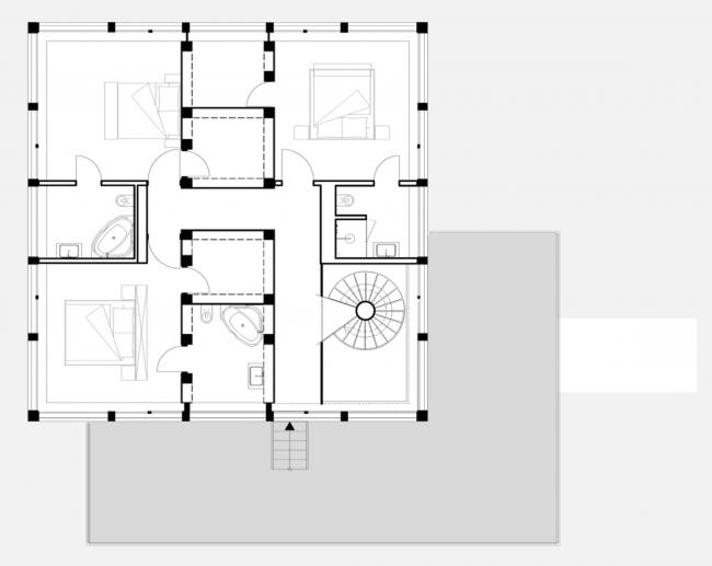 Вилла под Потсдамом. План 2 этажа © nps tchoban voss