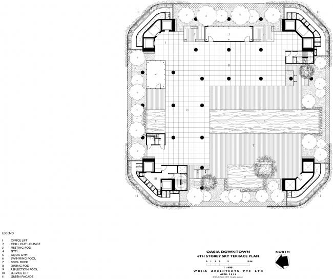 Башня Oasia Hotel Downtown. План 6 этажа © WOHA