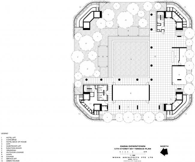 Башня Oasia Hotel Downtown. План террасы на 12 этаже © WOHA