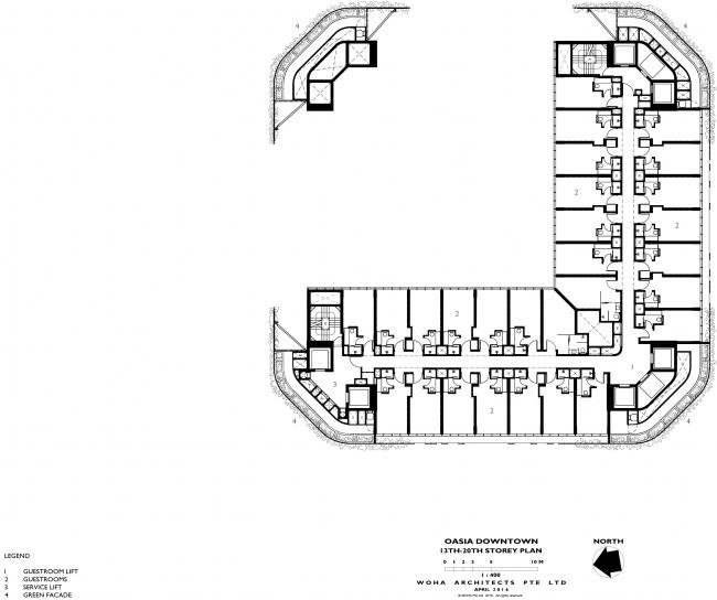 Башня Oasia Hotel Downtown. План 13-20 этажей © WOHA
