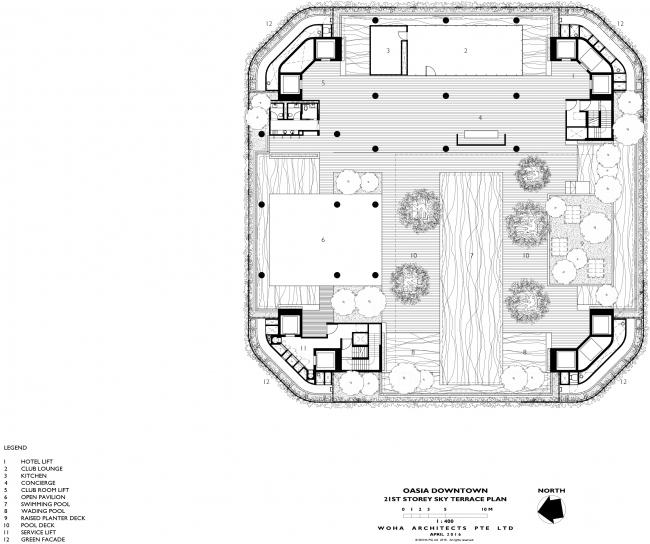 Башня Oasia Hotel Downtown. План террасы на 21 этаже © WOHA