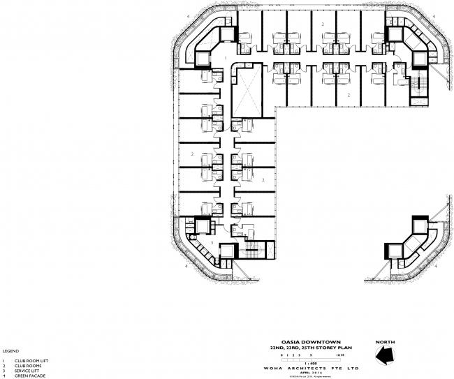 Башня Oasia Hotel Downtown. План 22, 23 и 25 этажей этажа © WOHA