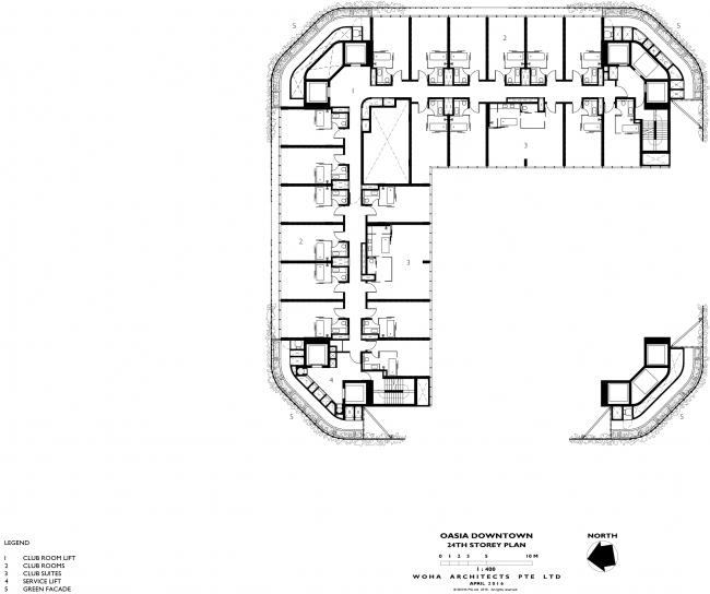 Башня Oasia Hotel Downtown. План 24 этажа © WOHA