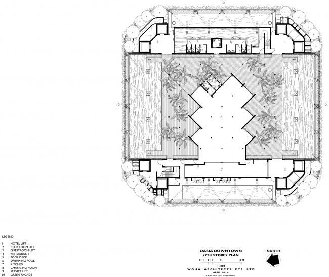 Башня Oasia Hotel Downtown. План террасы на 27 этаже © WOHA