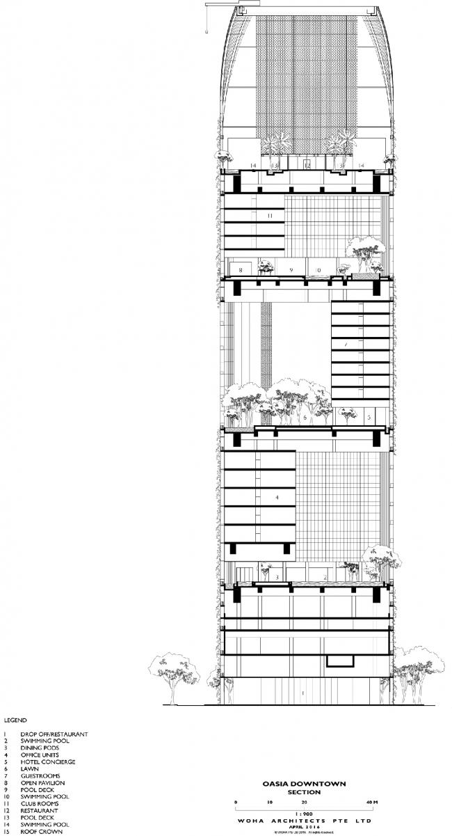Башня Oasia Hotel Downtown. План, вертикальный разрез © WOHA