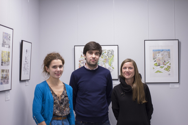 """Elena Sadkovskaya, Arsen Orekhov, Galina Shashkina at the inauguration of the exhibition """"Architects Drawing Life« // »Rules of Communication"""", 2016"""
