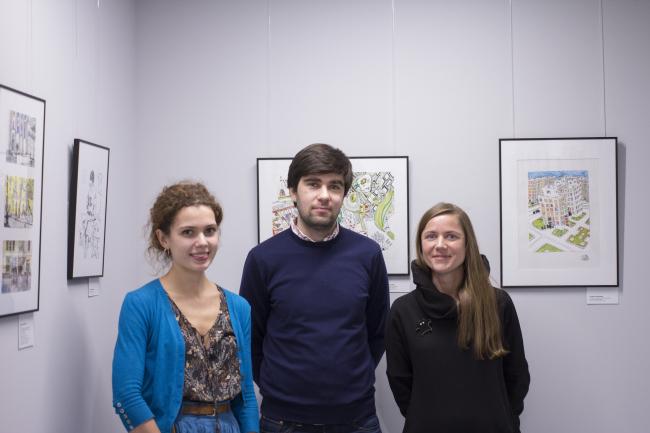 """Elena Sadkovskaya, Arsen Orekhov, Galina Shashkina at the inauguration of the exhibition """"Architects Drawing Life"""" // """"Rules of Communication"""", 2016"""