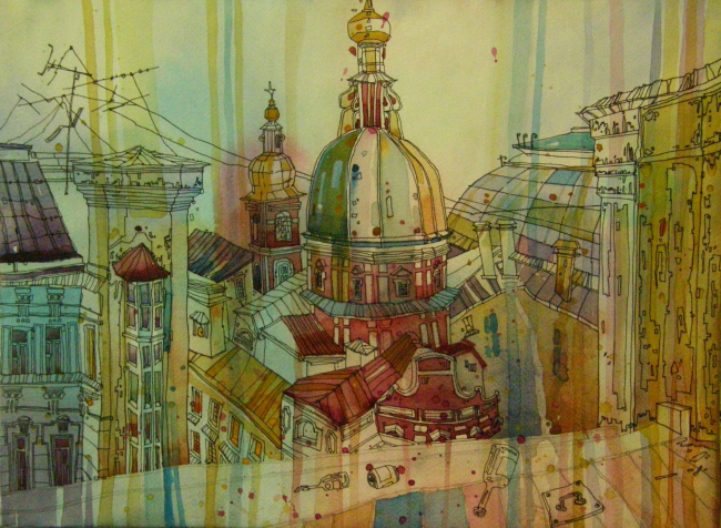 """The St.Andrew Cathedral on Sain-Petersburg′s Vasilyevsky Island. Author: Galina Shashkina. """"Architects Drawing Life"""". Showroom of Match Point multifunctional complex. Photo courtesy by """"Rules of Communication"""" Agency"""