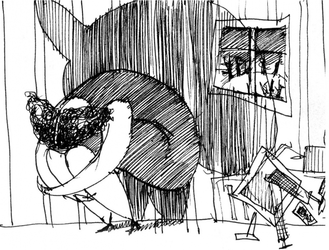 Зарисовки. Автор: Елена Садковская. Выставка «Архитекторы рисуют жизнь». Шоу-рум МФК Match Point. Фотография предоставлена коммуникационным агентством «Правила Общения»