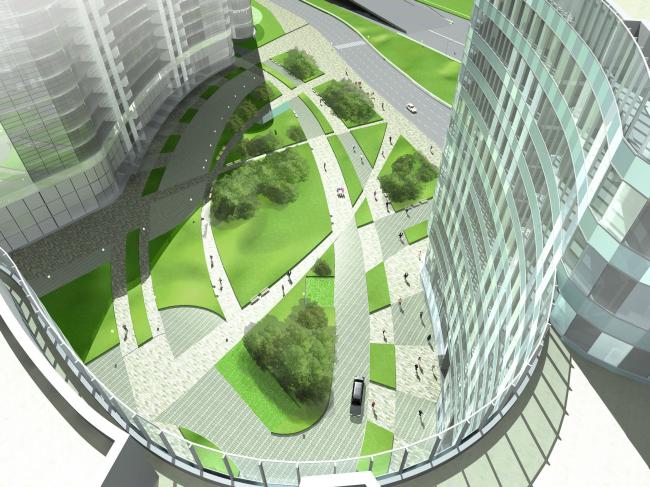 Комплекс зданий и сооружений «Медиа Центр». Вид на площадь © ДНК аг