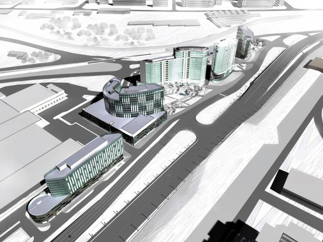 Комплекс зданий и сооружений «Медиа Центр». Вид зимой © ДНК аг