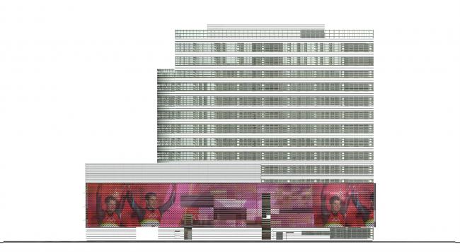Комплекс зданий и сооружений «Медиа Центр». Вариант решения фасада © ДНК аг