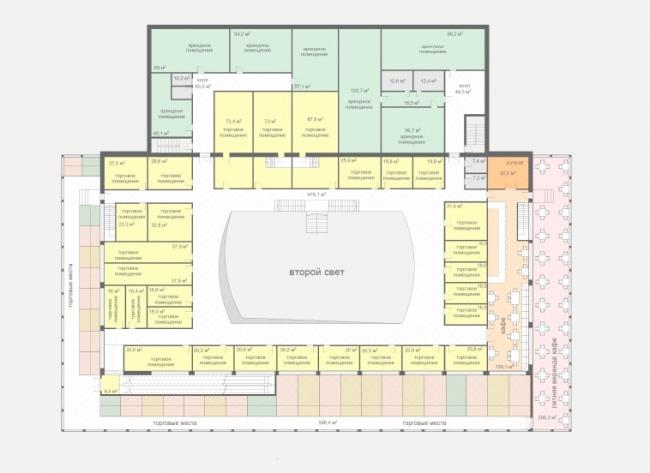 Концепция реконструкции рынка на площади Единства и Согласия в Тюмени. План второго этажа © Архстройдизайн АСД