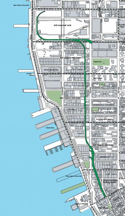 Схема прохождения Хай-Лайн (отмечена зеленым) по районам Манхэттена