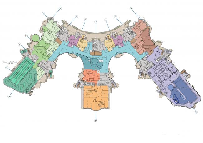 Жилой комплекс «Корона». План 1 этажа © Архитектурная мастерская Цыцина
