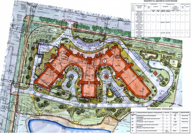 Жилой комплекс «Корона». Генеральный план © Архитектурная мастерская Цыцина