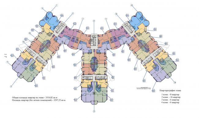 Жилой комплекс «Корона». План 13-14 этажей © Архитектурная мастерская Цыцина