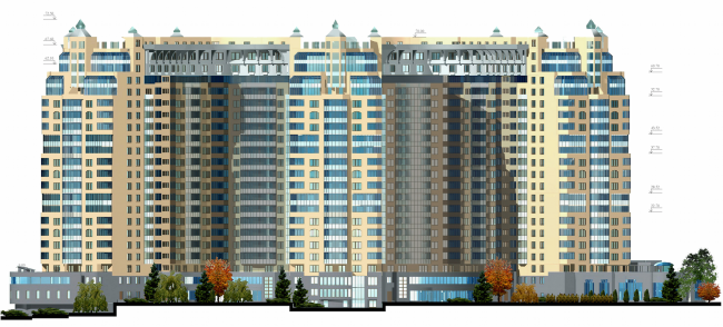 Жилой комплекс «Корона». Фасад © Архитектурная мастерская Цыцина