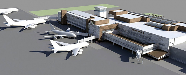 Уфа. Проект реконструкции и строительства новых терминалов международного аэропорта.