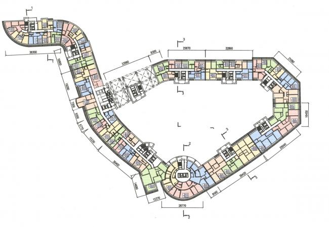 Жилой комплекс «Платинум». План 3 этажа © Архитектурная мастерская Цыцина