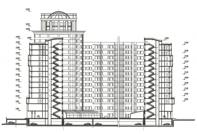 Жилой комплекс «Платинум». Фасад © Архитектурная мастерская Цыцина