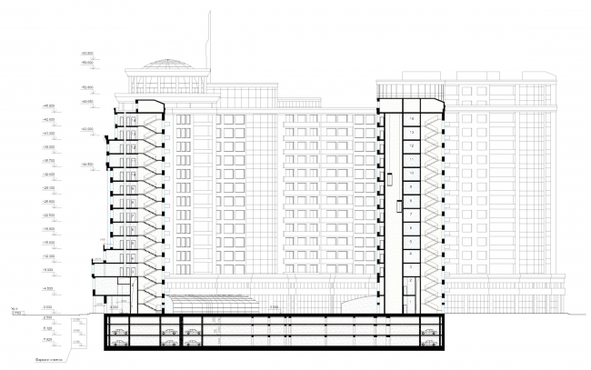 Жилой комплекс «Платинум». Разрез © Архитектурная мастерская Цыцина