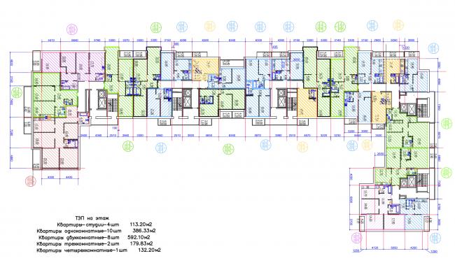 Жилой квартал LIFE-Приморский. Корпус 2, план 2-9 этажей © Архитектурная мастерская Цыцина