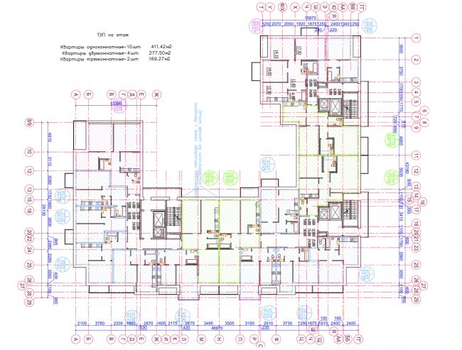 Жилой квартал LIFE-Приморский. Корпус 3, план 2-9 этажей © Архитектурная мастерская Цыцина