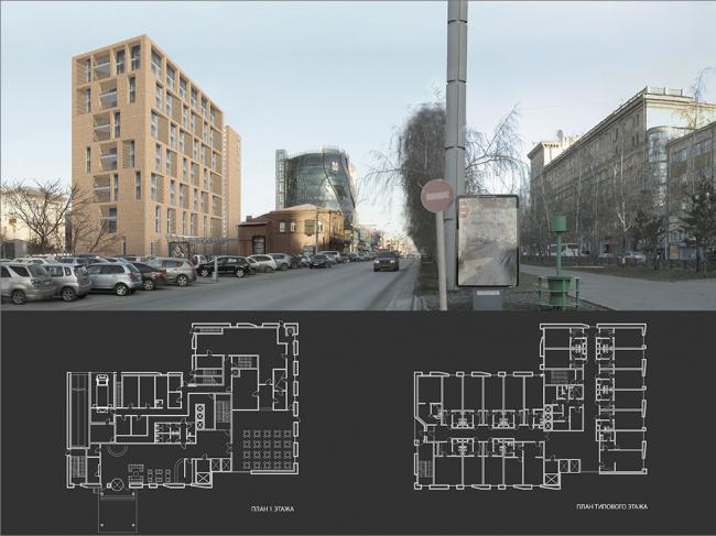 Гостиничный комплекс с подземной автостоянкой в Новосибирске © Гинзбург Архитектс