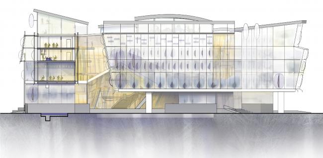 Фасад восточный главный. Центр гидрологии Волги. Проект Анны Будниковой «Гидрологический кластер»