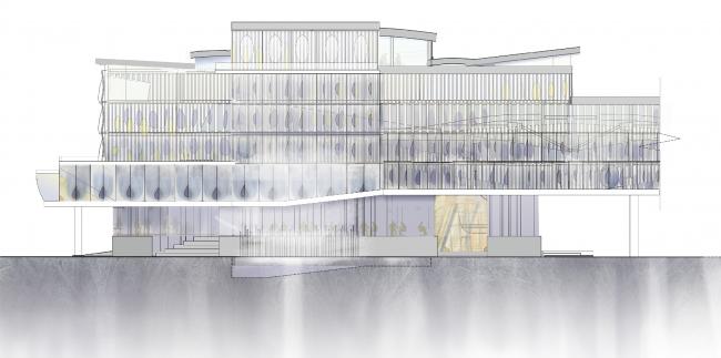 Фасад южный. Центр гидрологии Волги. Проект Анны Будниковой «Гидрологический кластер»