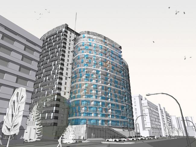 Архитектурная концепция гостиницы 4* в Краснодаре © Гинзбург Архитектс