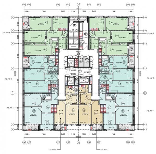 Жилой комплекс «Достояние». Два корпуса на ул. Ярцевской, вл. 34. План 4 этажа (корпус 3). Проект, 2016 © Архитектурная мастерская «ГРАН»