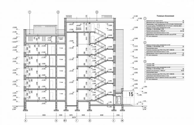 Резиденция Горки. Схема разреза 1-1 © sp architect