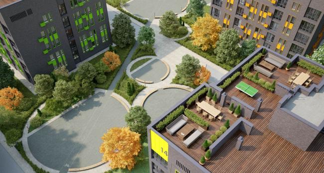 Резиденция Горки. Визуализация. Общий вид на благоустройство двора и эксплуатируемую кровлю © sp architect