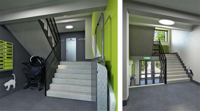 Визуализация. Концепция оформления мест общего пользования. Вход в подъезд © sp architect
