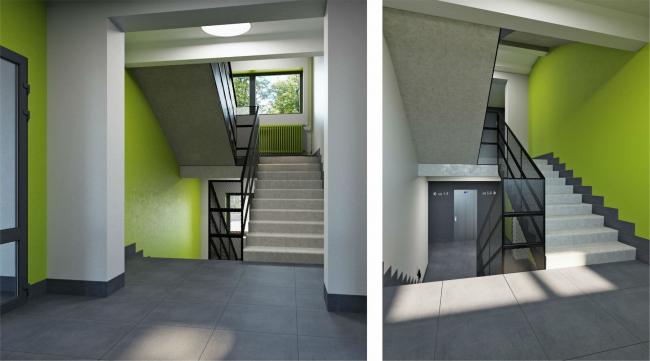 Визуализация. Концепция оформления мест общего пользования.  Мэжэтажная лестница», © «sp architects»