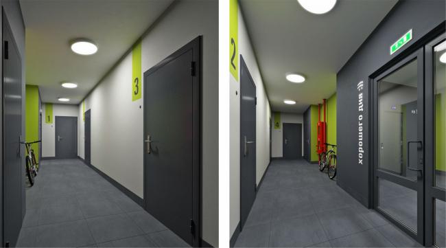 Резиденция Горки.  Визуализация.  Концепция оформления мест общего пользования. Общеквартирный коридор © sp architects