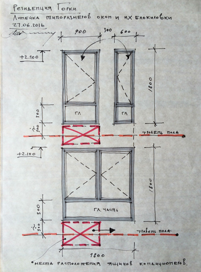 Резиденция Горки. Эскиз. Схема поэтажной блокировки окон © sp architect