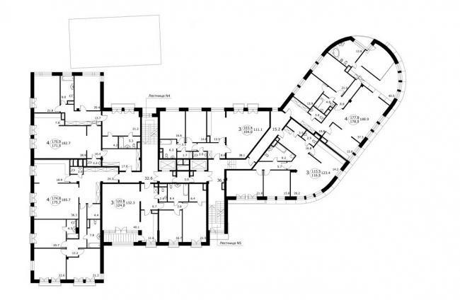 Жилищно-коммерческий комплекс на Большой Полянке. План 5-го этажа © Сергей Скуратов ARCHITECTS